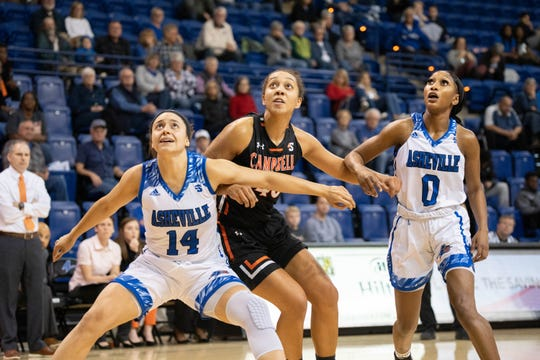 Former Riverside High star Brooke Jordan-Brown (14) has an 'every rebound is mine' philosophy to become the Big South Conference's leading rebounder as a senior at UNC Asheville