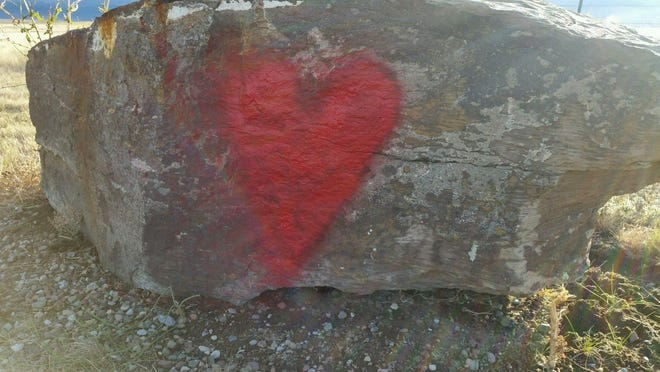 The pattern of vandalism continues to repeat itself. This red heart appeared at First Peoples' Buffalo Jump State Park last September.