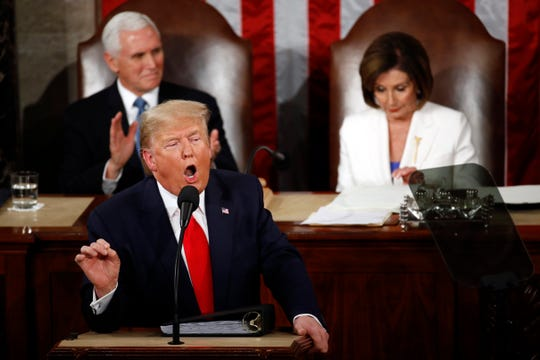President Donald Trump delivers his State of the Union address to a joint session of Congress on Feb. 4 in Washington.