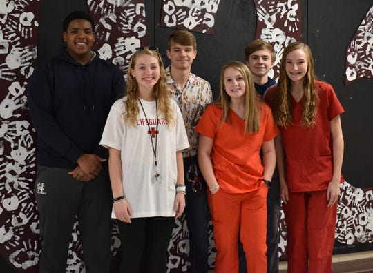 The freshman class homecoming court is, in front row from left: Jaylynn Lyons, Brooklyn Marsh and Kendal Hargrove. In back, from left: Bryce Tapp, Travis Kellen and Trey Owen.