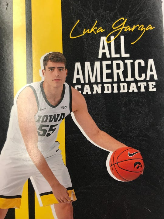 The University of Iowa sports information department is busy promoting Luka Garza for the all-America team, including this spiral-bound notebook that is being given to reporters.
