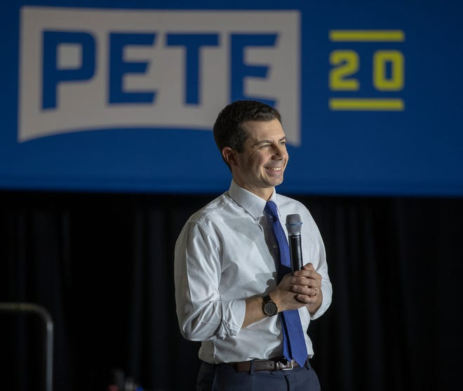 Pete Buttigieg makes his pitch about why he should be U.S. President, at Exeter High School, Exeter, N.H., Monday, Feb. 10, 2020. The New England town near the coast, was the last town hall stop for Buttigieg prior to the state's primaries on Tuesday.