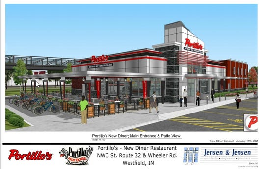 A rendering of a proposed Portillo's location at Ind. 32 and Wheeler Road in Westfield. The city council is set to vote on the project in April, 2020.
