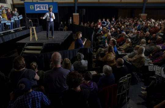 Pete Buttigieg makes his pitch Monday at Exeter High School about why he should be the next president of the United States.