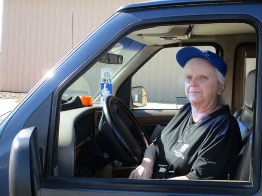 Virginia Meadows in the truck she drives behind her husband as he's walking across the country.  She constantly has to be on the breaks as she follows behind him.
