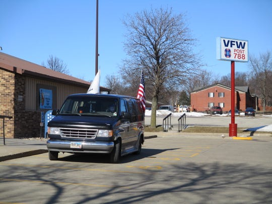 The Meadows' van pulled up outside the VFW in Cedar Rapids on Friday, Feb.7, 2020. Jerry Meadows is currently 400 miles into his 1,275 miles journey, a walk he's making to raise awareness for the Wounded Warrior Project.