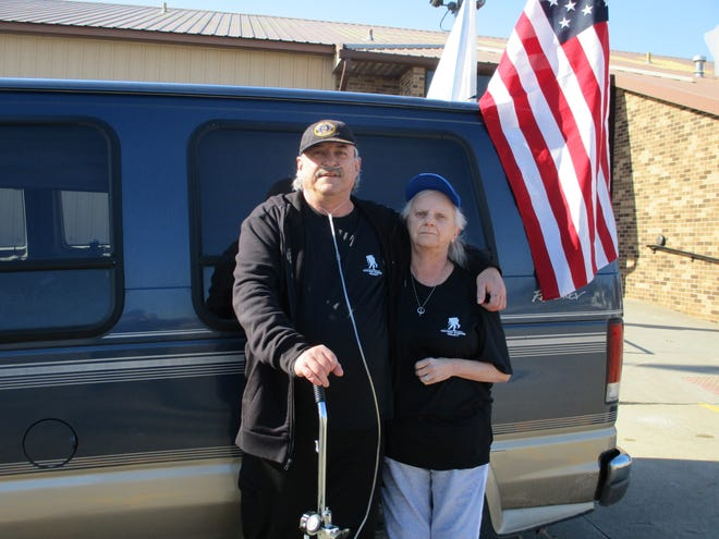 Jerry and Virginia Meadows stand outside the van they're driving from Minn. to Florida. On Feb. 7, 2020, they were in Cedar Rapids, about 400 miles into their 1,275-mile journey. Jerry is going the whole way with an oxygen take in order to raise awareness for the Wounded Warrior Project.