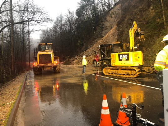 Crews are working to clear a mudslide that shut down the northbound lanes of the Spur, between Gatlinburg and Pigeon Forge. The work could be finished by Tuesday night.