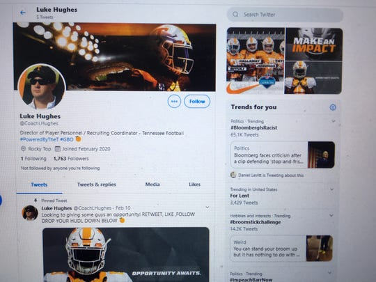 This Twitter account claiming to be associated with Tennessee football is a hoax. The person operating the account is seeking information and money from prospective athletes.