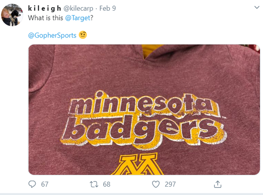 Target apologized for printing 'Minnesota Badgers' onesies.