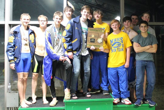 The Mountain Home Bomber swim team won the 5A-East Conference championship on Monday at Paragould.