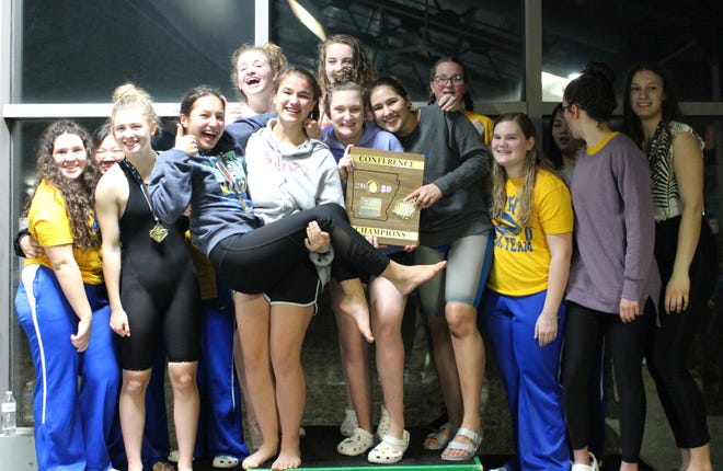 The Mountain Home Lady Bomber swim team won the 5A-East Conference swim meet on Monday at Paragould.