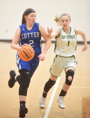 Cotter's Becca Benedict is defended by Yellville-Summit's Abby Methvin during the Junior Lady Panthers' 44-31 victory in the semifinals of the 2A-1 District Tournament.