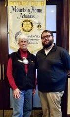 """On Feb. 6, the Rotary Club of Mountain Home heard about Grandma's House Child Advocacy Center in Harrison. Rotarian of the Day was Marcia Taylor, who introduced Cody Tatum from Grandma's House. He explained their mission was to give a voice to children who need to express their fears and concerns in a """"safe place for hope and healing."""" Another new member was sponsored by Wes Wood, as Brandon Scallion was added to the Rotary roll and inducted by past president Stewart Brunner. There was also a time for new member Trevor Himschoot to talk about what drew him to Rotary and for long-time member Barney Larry to discuss why he'd remained in the club for over two decades. Matt Taylor was elected to fill an unexpected vacancy on the board, with an election for next year's board coming up in two weeks. Those terms will begin in July 2020. Pictured above are (from left) Rotarian of the Day Marcia Taylor and Cody Tatum of Grandma's House."""