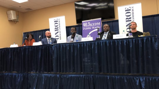 Marie Brown, Friday Ellis, Fredrick Lewis, Jamie Mayo and Ronnie Scott at a KEDM/Monroe Chamber of Commerce candidate's forum for the Monroe mayor's race.