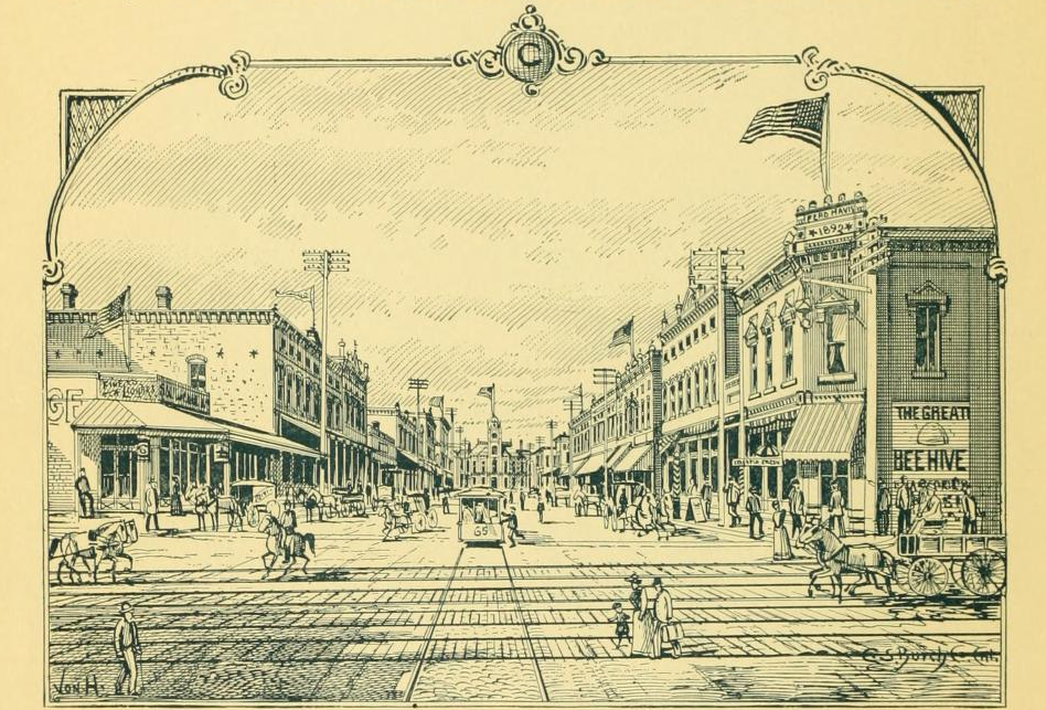 Main Street in Pine Bluff, Ark. as depicted in an 1893 guide. Jeremiah Haralson moved to Pine Bluff some time around 1891, where he worked as a pension agent.