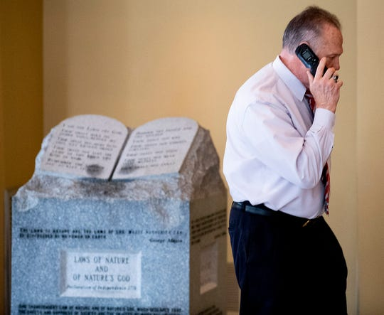 Roy Moore had his Ten Commandments monument installed in the offices of the Foundation For Moral Law in Montgomery, Ala., on Tuesday February 11, 2020.
