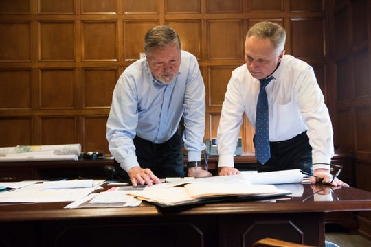 City Chief of Staff Mac McLeod, left talks with his successor Chip Hill in his office at City Hall in Montgomery, Ala., on Tuesday, Feb. 11, 2020.
