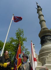 File photo shows an observance of Confederate Memorial Day at the base of the Confederate Monument on the north end of the Alabama Capitol on Monday, April 24, 2006 in Montgomery.