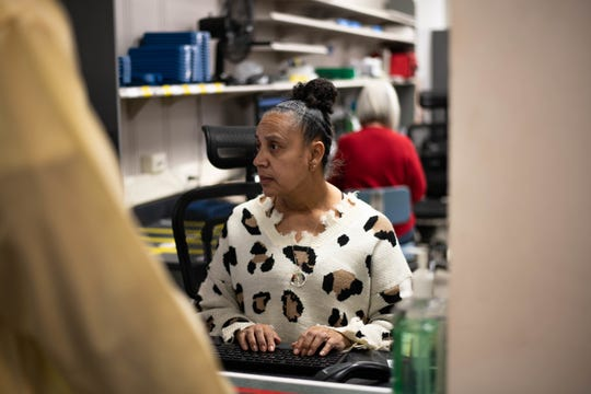 A Maxwell Pharmacy Technician checks-in a patient at the Maxwell Pharmacy, Dec. 19, 2019, Maxwell Air Force Base, Alabama. The Maxwell Pharmacy serves approximately 500 patients a day, making it one of the busiest pharmacies in the state.