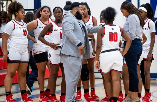 "Pike Road assistant coach Quawon ""Red"" Baldwin coaches against Beulah on the Pike Road campus in Pike Road, Ala., on Monday February 10, 2020."