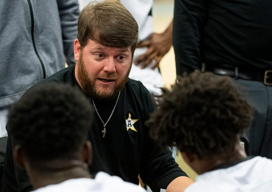 Autauga Academy coach Greg Parker coaches against Clarke Prep during AISA championship action at the Cramton Bowl Multiplex in Montgomery, Ala., on Tuesday February 11, 2020.