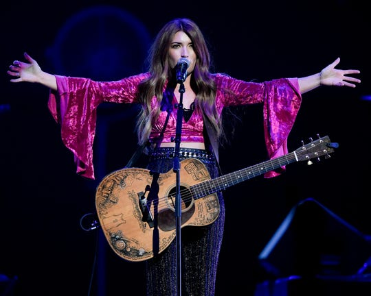 Tenille Townes performs during the All the Hall benefit concert at Bridgestone Arena in Nashville, Tenn., Monday, Feb. 10, 2020.