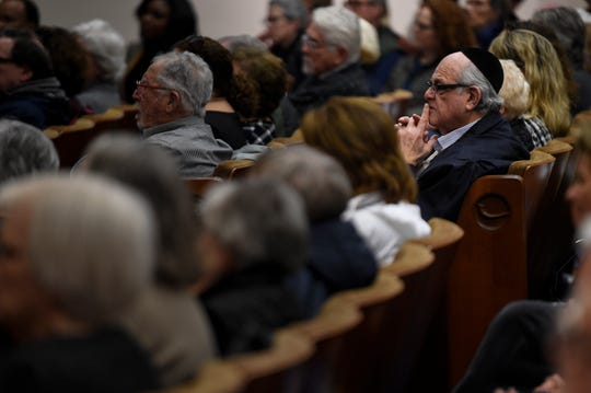 Guests listen to Tree of Life Rabbi Jeffrey Myers during the Stronger than Hate rally at The Temple Monday, Feb. 10, 2020 in Nashville, Tenn.