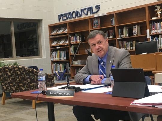 Franklin Special School District Director of Schools David Snowden attends a board of education meeting in February.