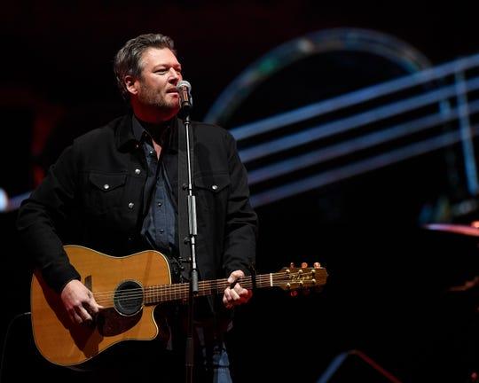 Blake Shelton performs during the All the Hall benefit concert at Bridgestone Arena in Nashville, Tenn., Monday, Feb. 10, 2020.