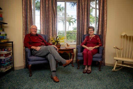 Owen and Juanita Henning pose for a portrait, Monday, Feb. 11, 2020, at Bentley Village in North Naples. The Hennings have been married for 71-years.
