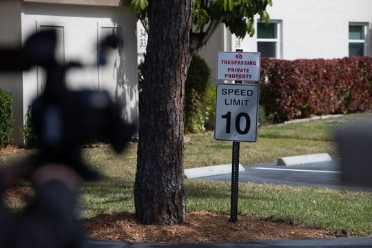 The entrance to an apartment complex where a 45-year-old man and a 5-year-old boy where found dead is pictured off the 1500 block of Sandpiper Street in the Royal Harbor community on Tuesday, Feb. 11, 2020.