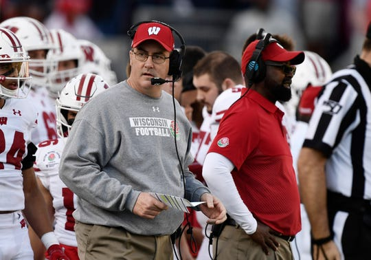 Wisconsin Badgers head coach Paul Chryst looks on in the first half against the Oregon Ducks in the 106th Rose Bowl game at Rose Bowl Stadium on Jan. 1. Chryst was in Naples on Monday night for the 30th annual Badger Day, along with athletic director Barry Alvarez.