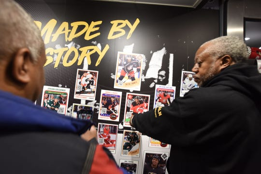 Devils/NHL celebrate Black Hockey History Night. Mobile museum parked just outside Prudential Center celebrates achievements in black hockey history including the first black NHL player, first captain, and first inducted into the Hockey Hall of Fame, and every black player in NHL history
