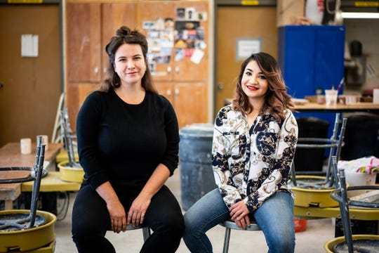 """Western New Mexico University artists in residence for ceramics Atziry A. Apodaca and Natalie Rae Good, both pictured, will show their work in an exhibit titled """"Power Structures"""" at WNMU Francis McCray Gallery of Contemporary Art from Thursday, Feb. 13, through Saturday, Feb. 15."""