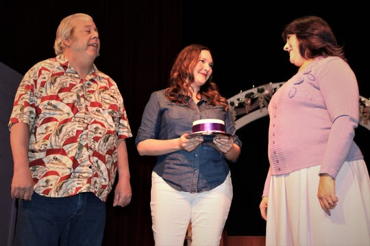 "Tim Bagley, Victoria Wright and Karen DiGiacomo rehearse a scene from the Theater Ensemble Arts production of ""Four Weddings and an Elvis."""