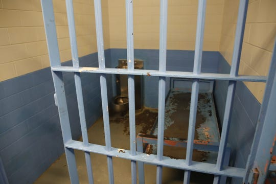 A jail cell was shown to U.S. Rep. Ben Ray Luján, D-N.M., during a tour of the Shiprock Police Department on March 22, 2019.