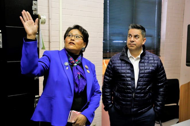 Delegate Eugenia Charles-Newton, left, who represents Shiprock Chapter, speaks to U.S. Rep. Ben Ray Luján, D-N.M., about the condition of the Shiprock Police Department during a tour on March 22, 2019.