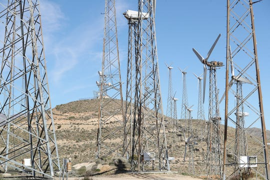 Wind turbines generate electricity on ridge above Palm Springs in February.