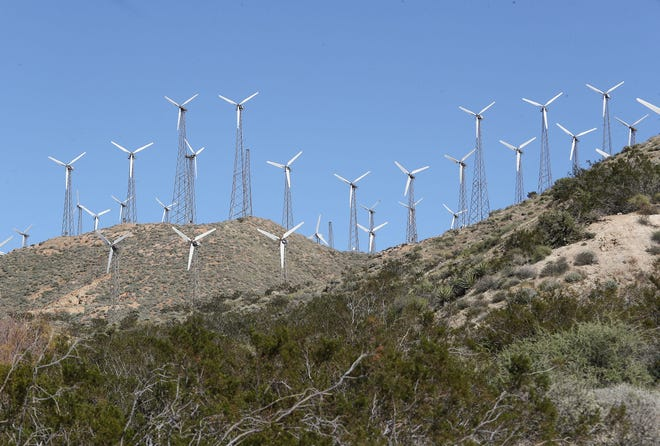 Turbines at the Mesa Wind Project Generating Station near Whitewater, February 11, 2020.