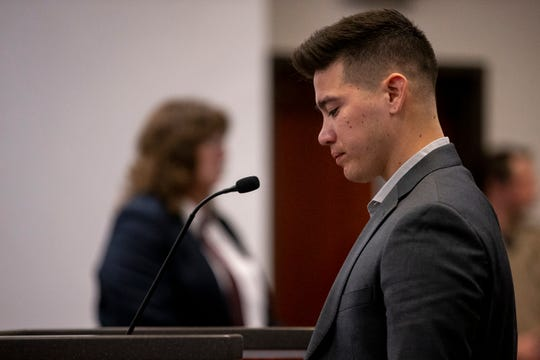 Nick Piring, one of the victims in the 2015 NAU shooting, speaks during the sentencing of Steven Jones on Feb. 11, 2020, at Coconino County Superior Courthouse in Flagstaff.