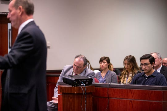 Steven Jones listens as Doug Brough, father of Colin Brough, speaks during Jones' sentencing on Feb. 11, 2020, at Coconino County Superior Courthouse in Flagstaff.