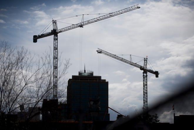Construction work is underway in downtown Phoenix on Feb. 11, 2020.