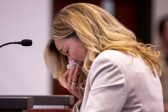 Claudia Brough, mother of Colin Brough, wipes away tears as she speaks during the sentencing of Steven Jones on Feb. 11, 2020, at Coconino County Superior Courthouse in Flagstaff.