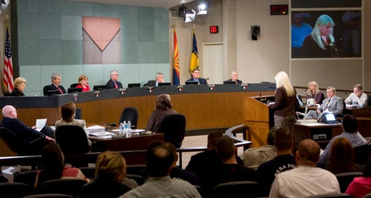 Residents packed the Mesa City Council chambers in December 2005 as the council considered a slew of taxes to send to voters.