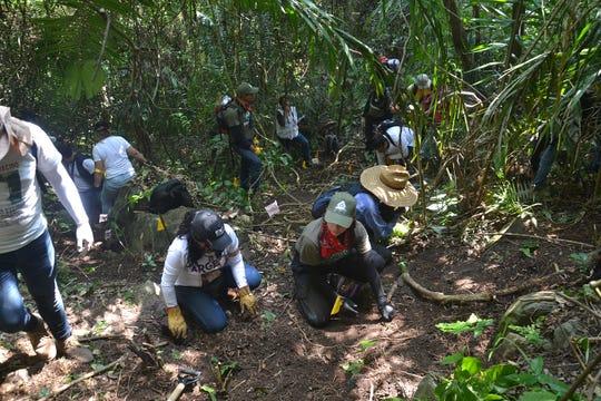 Representantes de colectivos de búsqueda de personas y familiares de desaparecidos, buscan fosas clandestinas, este jueves 10 de febrero, en la comunidad de Paso de Coyutla, en el estado de Veracruz (México).