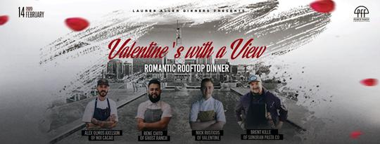 """En el evento """"Valentine's with a View"""", cuatro reconocidos chefs locales servirán una comida de cinco platos con temática de chocolate."""