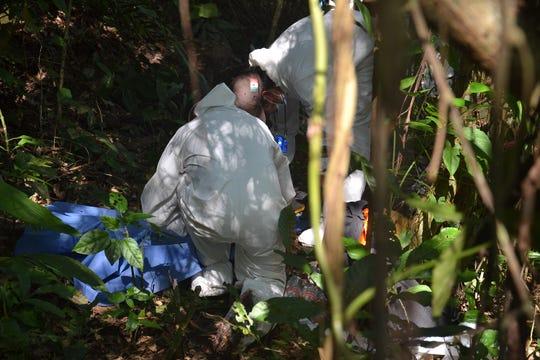 Representantes de colectivos de búsqueda de personas y familiares de desaparecidos, buscan fosas clandestinas, este lunes 10 de febrero, en la comunidad de Paso de Coyutla, en el estado de Veracruz (México).