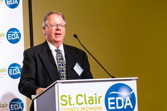 Ed Brooks, president of the St. Clair County EDA's board of directors, talks at the EDA's annual luncheon Tuesday, Feb. 11, 2020, in the ballroom at CityFlats.