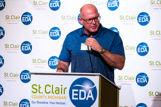 St. Clair County Commissioner Jeff Bohm introduces the keynote speaker at the EDA's annual luncheon Tuesday, Feb. 11, 2020, in the ballroom at CityFlats.